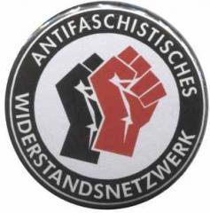 """Zum 50mm Magnet-Button """"Antifaschistisches Widerstandsnetzwerk - Fäuste (schwarz/rot)"""" für 3,20 € gehen."""