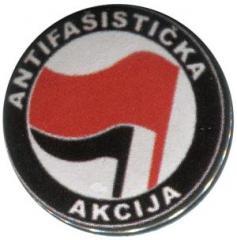 """Zum 50mm Magnet-Button """"Antifasisticka Akcija (rot/schwarz)"""" für 3,00 € gehen."""