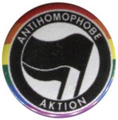 """Zum 50mm Magnet-Button """"Antihomophobe Aktion (schwarz/schwarz)"""" für 3,00 € gehen."""