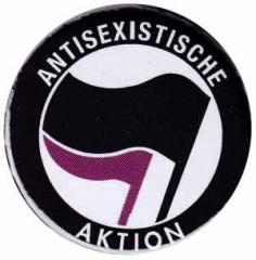 """Zum 50mm Magnet-Button """"Antisexistische Aktion (schwarz/lila)"""" für 3,00 € gehen."""