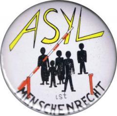 """Zum 50mm Magnet-Button """"Asyl ist Menschenrecht"""" für 3,00 € gehen."""
