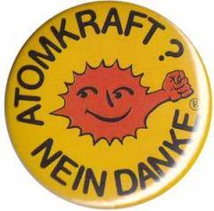 """Zum 50mm Magnet-Button """"Atomkraft? Nein Danke - mit Faust"""" für 2,92 € gehen."""