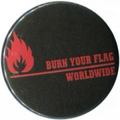 """Zum 50mm Magnet-Button """"Burn your flag - worldwide (red)"""" für 3,00 € gehen."""