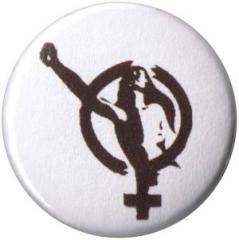 """Zum 50mm Magnet-Button """"Frauenzeichen mit erhobener Faust"""" für 3,00 € gehen."""