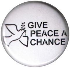 "Zum 50mm Magnet-Button ""Give peace a chance"" für 3,00 € gehen."