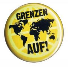 """Zum 50mm Magnet-Button """"Grenzen auf!"""" für 3,00 € gehen."""