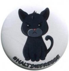 """Zum 50mm Magnet-Button """"#haltdiefresse Katze"""" für 3,00 € gehen."""