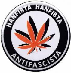 """Zum 50mm Magnet-Button """"Hanfista Hanfista Antifascista"""" für 3,00 € gehen."""
