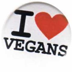 """Zum 50mm Magnet-Button """"I love vegans"""" für 3,00 € gehen."""
