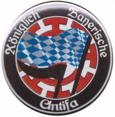 """Zum 50mm Magnet-Button """"Königlich Bayerische Antifa Mühldorf"""" für 3,12 € gehen."""