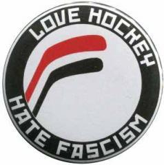 """Zum 50mm Magnet-Button """"Love Hockey Hate Fascism"""" für 3,00 € gehen."""
