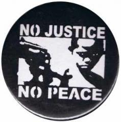 """Zum 50mm Magnet-Button """"No Justice - No Peace"""" für 3,00 € gehen."""