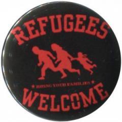"""Zum 50mm Magnet-Button """"Refugees welcome (rot)"""" für 3,00 € gehen."""