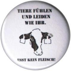 """Zum 50mm Magnet-Button """"Tiere fühlen und leiden wir ihr. Esst kein Fleisch!"""" für 2,92 € gehen."""