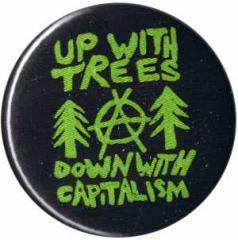 """Zum 50mm Magnet-Button """"Up with Trees - Down with Capitalism"""" für 2,92 € gehen."""