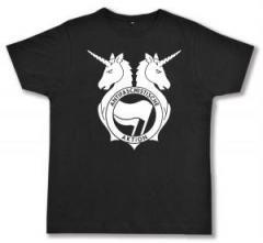"""Zum Fairtrade T-Shirt """"Antifa Einhorn Brigade"""" für 16,57 € gehen."""