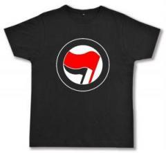 """Zum Fairtrade T-Shirt """"Antifa Logo (rot/schwarz, ohne Schrift)"""" für 16,57 € gehen."""