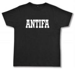 """Zum Fairtrade T-Shirt """"Antifa Schriftzug"""" für 16,57 € gehen."""