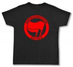 """Zum Fairtrade T-Shirt """"Antifaschistische Aktion (rot/rot)"""" für 16,57 € gehen."""