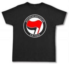 """Zum Fairtrade T-Shirt """"Antifaschistische Aktion (rot/schwarz)"""" für 17,00 € gehen."""