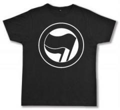 """Zum Fairtrade T-Shirt """"Antifaschistische Aktion (schwarz/schwarz) ohne Schrift"""" für 17,00 € gehen."""
