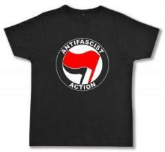 """Zum Fairtrade T-Shirt """"Antifascist Action (rot/schwarz)"""" für 16,57 € gehen."""