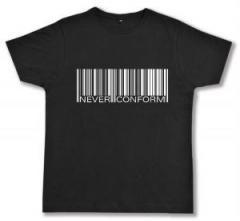 """Zum Fairtrade T-Shirt """"Barcode - Never conform"""" für 17,00 € gehen."""