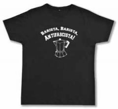 """Zum Fairtrade T-Shirt """"Barista Barista Antifascista"""" für 17,00 € gehen."""