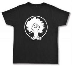 """Zum Fairtrade T-Shirt """"Baumfaust"""" für 17,00 € gehen."""