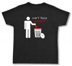 """Zum Fairtrade T-Shirt """"Do not trash humanity"""" für 18,52 € gehen."""