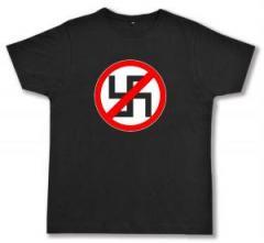 """Zum Fairtrade T-Shirt """"Durchgestrichenes Hakenkreuz"""" für 17,00 € gehen."""