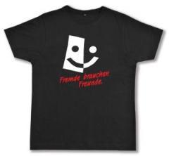 """Zum Fairtrade T-Shirt """"Fremde brauchen Freunde"""" für 17,00 € gehen."""