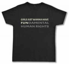 """Zum Fairtrade T-Shirt """"Girls just wanna have fundamental human rights"""" für 17,00 € gehen."""