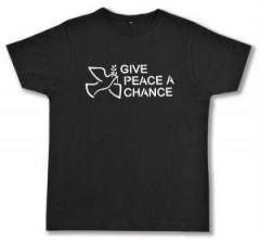 """Zum Fairtrade T-Shirt """"Give Peace A Chance"""" für 17,00 € gehen."""
