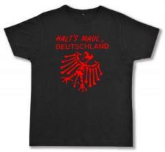 """Zum Fairtrade T-Shirt """"Halt's Maul Deutschland"""" für 16,57 € gehen."""
