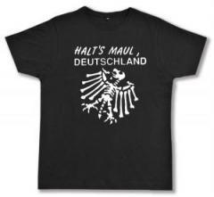 """Zum Fairtrade T-Shirt """"Halt's Maul Deutschland (weiß)"""" für 16,57 € gehen."""