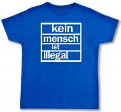 """Zum Fairtrade T-Shirt """"Kein Mensch ist Illegal (weiß/blau)"""" für 16,57 € gehen."""