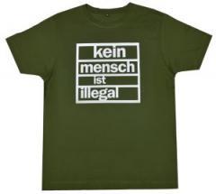 """Zum Fairtrade T-Shirt """"Kein Mensch ist Illegal (weiß/olivgrün)"""" für 17,00 € gehen."""