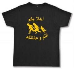 """Zum Fairtrade T-Shirt """"Refugees welcome (arabisch)"""" für 17,00 € gehen."""