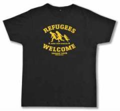 """Zum Fairtrade T-Shirt """"Refugees welcome Linksjugend"""" für 19,50 € gehen."""