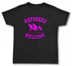 """Zum Fairtrade T-Shirt """"Refugees welcome (pink)"""" für 17,00 € gehen."""