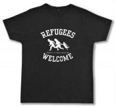 """Zum Fairtrade T-Shirt """"Refugees welcome (weiß)"""" für 17,00 € gehen."""