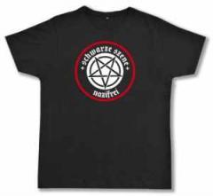 """Zum Fairtrade T-Shirt """"Schwarze Szene Nazifrei - Weißes Pentagramm"""" für 19,50 € gehen."""