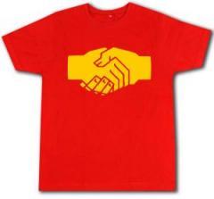 """Zum Fairtrade T-Shirt """"Sozialistischer Handschlag"""" für 16,57 € gehen."""
