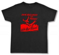 """Zum Fairtrade T-Shirt """"Zahme Vögel singen von Freiheit. Wilde Vögel fliegen! (rot)"""" für 16,57 € gehen."""