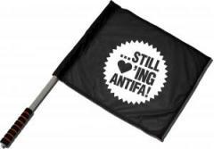 """Zum/zur  Fahne / Flagge (ca. 40x35cm) """"... still loving antifa!"""" für 11,00 € gehen."""