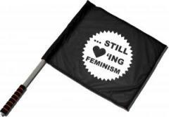 """Zum/zur  Fahne / Flagge (ca. 40x35cm) """"... still loving feminism"""" für 11,00 € gehen."""