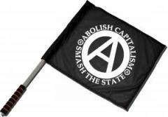 """Zum/zur  Fahne / Flagge (ca 40x35cm) """"Abolish Capitalism - Smash The State"""" für 11,00 € gehen."""