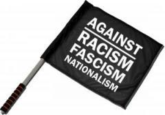 """Zum/zur  Fahne / Flagge (ca. 40x35cm) """"Against Racism, Fascism, Nationalism"""" für 11,00 € gehen."""