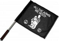 """Zum/zur  Fahne / Flagge (ca 40x35cm) """"All the Arms we need"""" für 11,00 € gehen."""